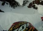 Wypadek widziany z góry - hillclimb na skuterze śnieżnym