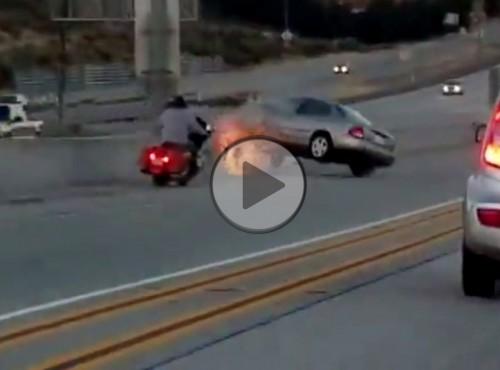 Nie zadzieraj z motocyklistą, bo źle skończysz...