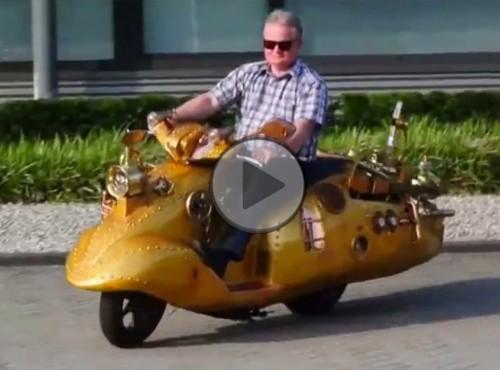 Sen szalonego hydraulika - skuter w stylu steampunk