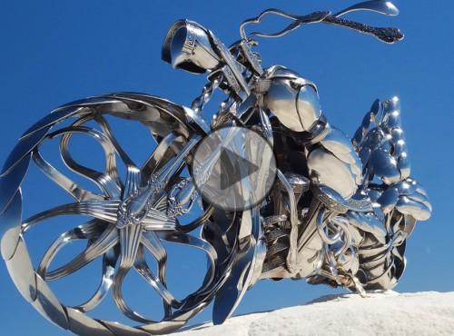 Podwójne życie sztućców - modele chopperów wykonane z łyżek