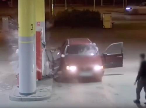 Wyłamali drzwi auta i uszkodzili dystrybutor. Walka ze złodziejami paliwa na stacji w Gdańsku [VIDEO]