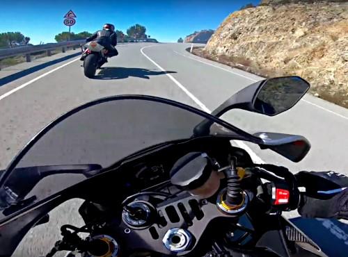 Yamaha R1, Suzuki GSX-R600 i Honda CBR600R na krętej górskiej drodze [VIDEO]