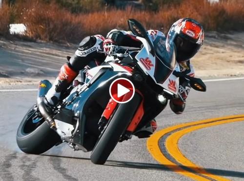 Yamaha YZF-R1 i power slide'y Josha Herrina na drodze publicznej