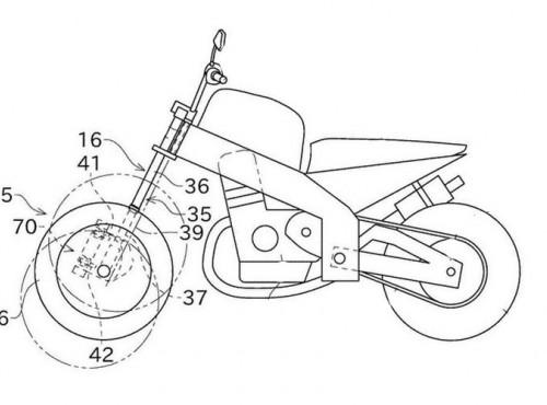 Trzykołowy motocykl Kawasaki na szkicach patentowych. Tak ma działać dwukołowa przednia oś