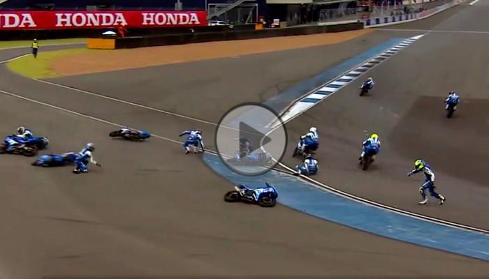 Motocyklowe domino - zaskakujący finał wyścigu