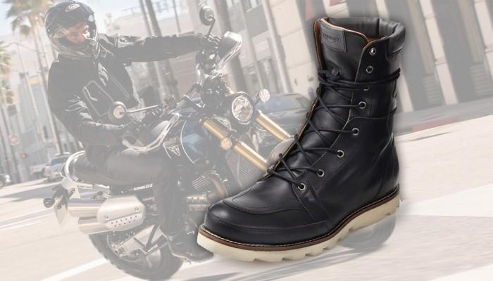 Triumph Stoke Boots Black - buty motocyklowe w stylistyce vintage
