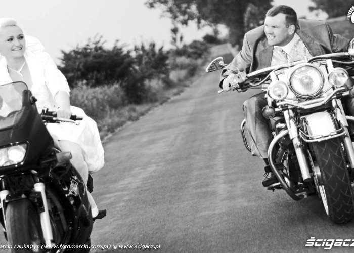 Marcin goni Zanete slub na motocyklach