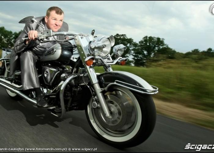 motocyklem na slub Zaneta i Marcin