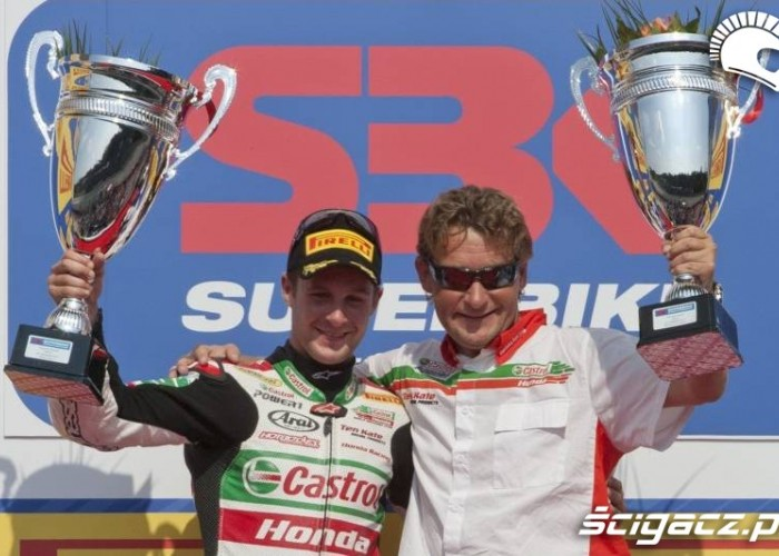 Castrol Honda in the podium