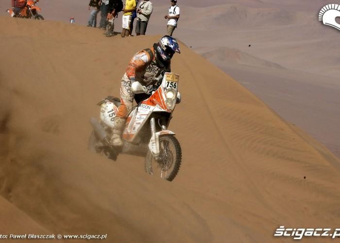 Rajd Dakar 2009 Pustynia Atacama motocyklista