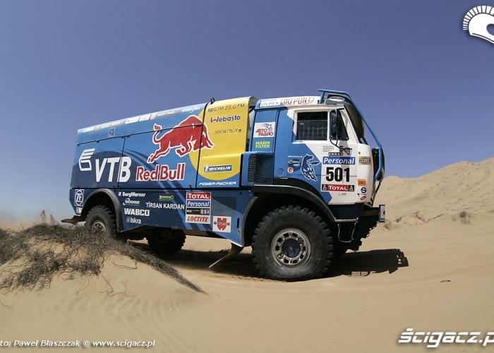Rajd Dakar 2010 opuszcza pustynie ciezarowka Kamaz