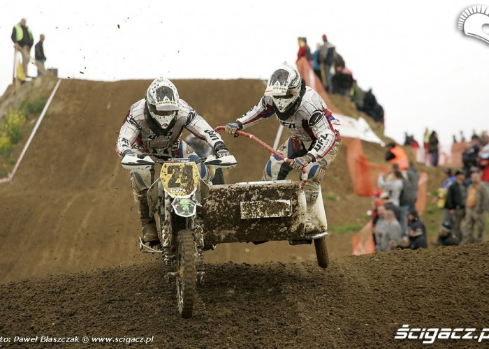 Mistrzostwa Swiata w Motocrossie Sidecar Gdansk 2009 ladowanie po skoku