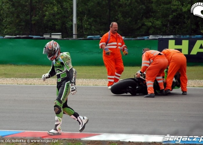 World Superbike Brno round Laconi crash