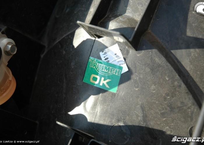 kontrola jakosci Triumph Sprint GT 2011