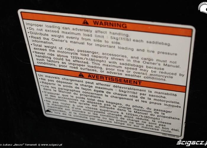 Yamaha XVS950 statyka ostrzezenie