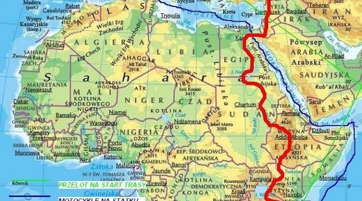 motocyklem przez Afryke mapa trasy