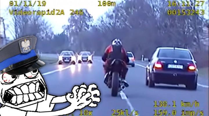 ucieczka przed policja na motocyklu z