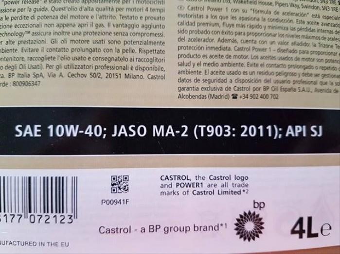 Etykieta Castrol 10W40