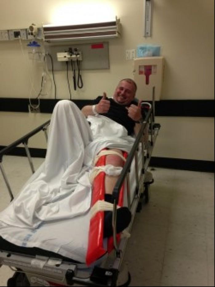 Nasz rozmowca tutaj w roli pacjenta po kontuzji kolana