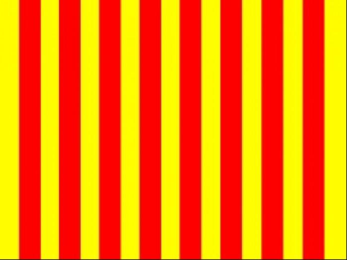zolta flaga w czerwone pasy