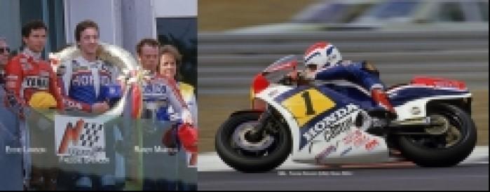 19) Freddie Spencer w akcji (Honda 500cc1984) i na podium n