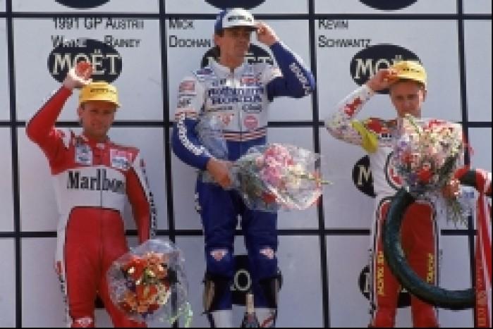 20) 1991 GP Austrii Czolowe trio kl500 - Wayne Rainey Mic