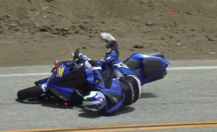 Yamaha R1 lowside