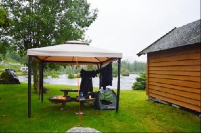 Norwegia suszenie ekwipunku w Jolvassbu camping