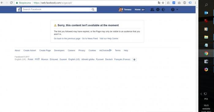 problem facebookIscigaczpl banned as cigacz.pl