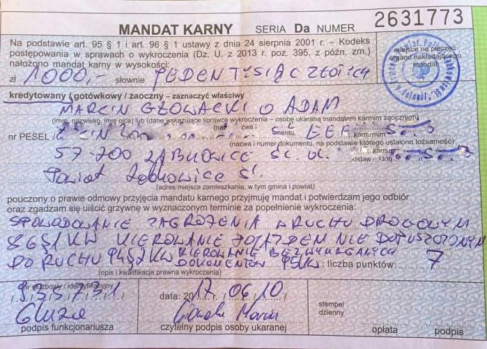 Mandat Marcin Korzen Glowacki spowodowanie zagrozenia w ruchu