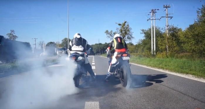 palenie gumy Suzuki Hayabusa Turbo i Suzuki GSX R 1000 Turbo