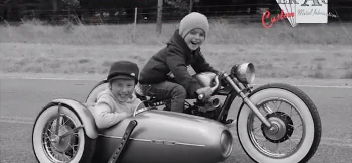 motocykl z koszem dla dzieci