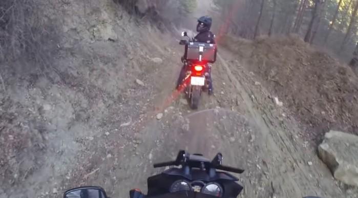 Suzuki V Strom muddy downhill
