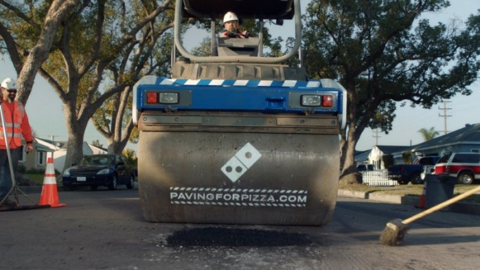 Dominos Pizza Paving for Pizza Steamroller