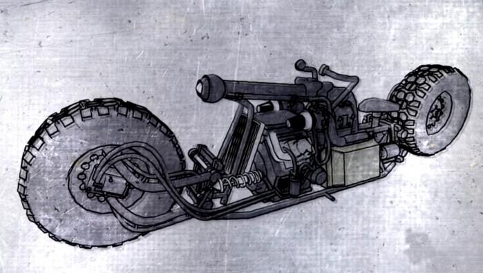 motocykl z silnikiem diesla szkic
