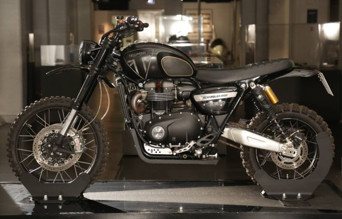 1 Triumph Scrambler 1200 XE action vehicle from No Time To Die on display at Bond In Motion in London LR