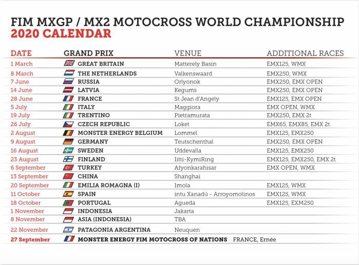 Nowy kalendarz MXGP