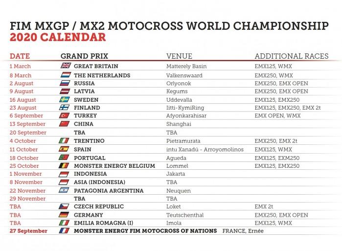 2020 MXGP nowy kalendarz