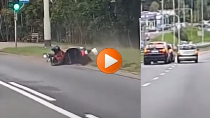 potracenie motocyklisty blokada