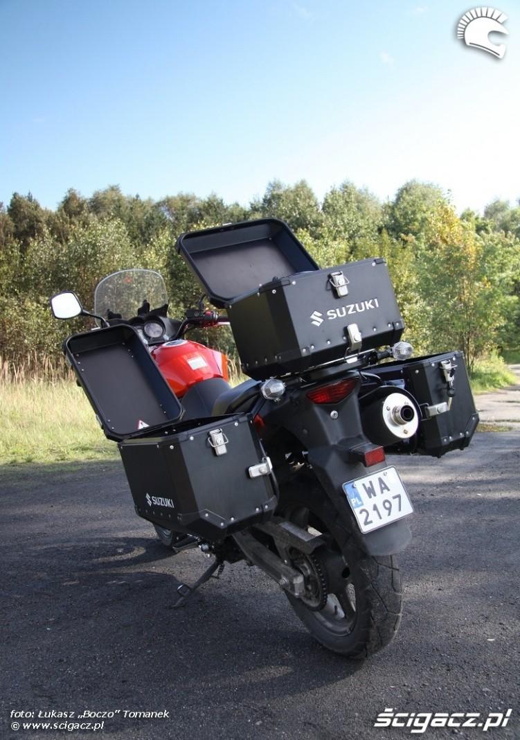 kufry od tylu Suzuki DL650 test