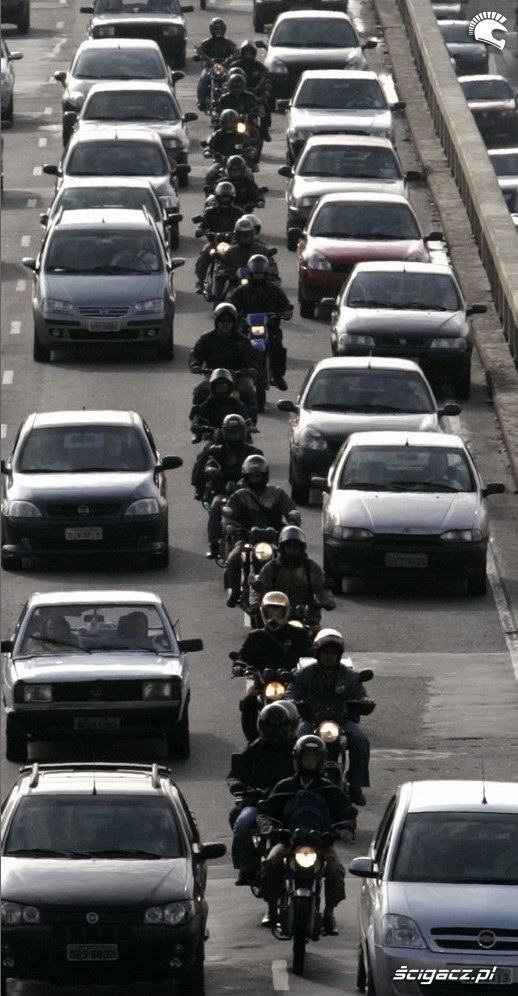 Motocyklisci w korku