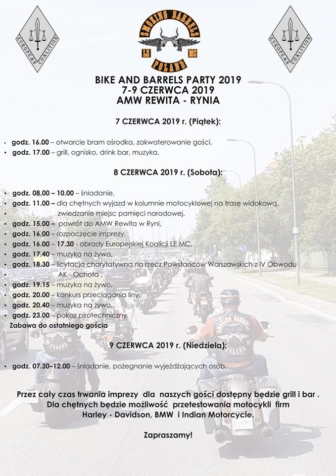 Bike and Barrels Party harmonogram